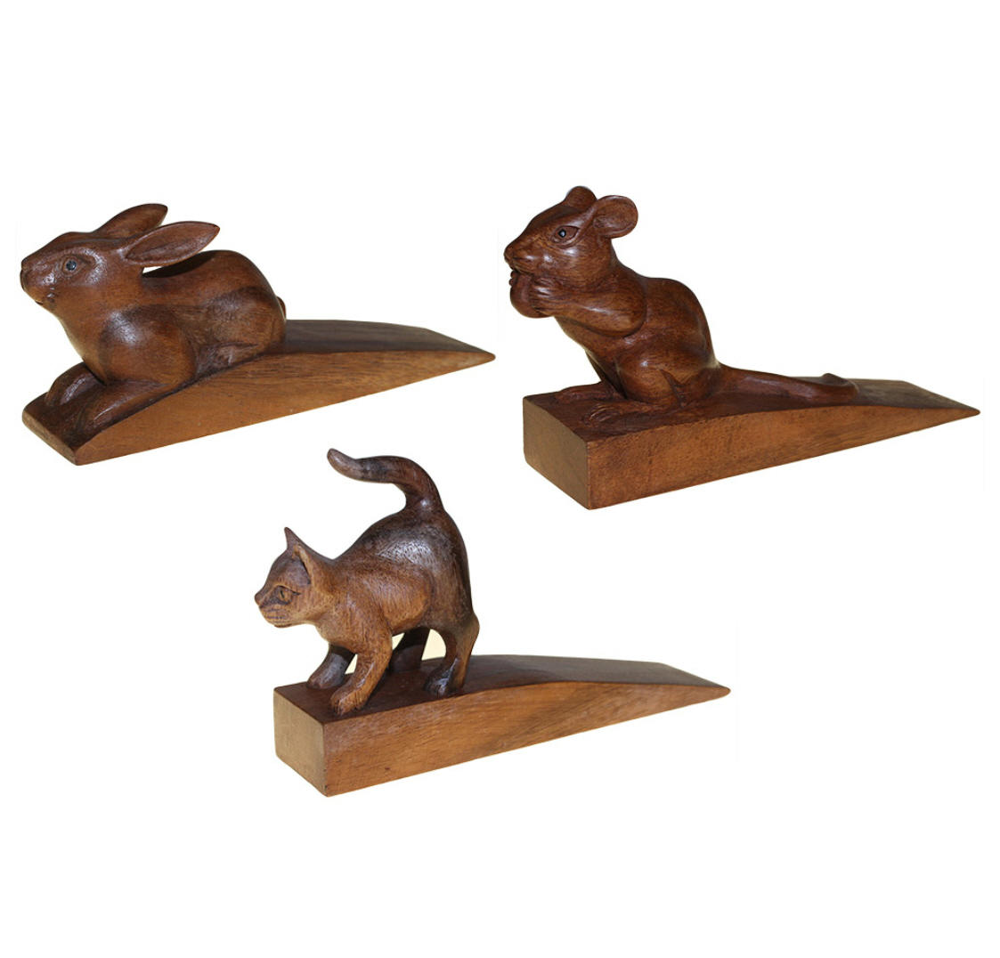 Hand Carved Wooden Animal Door Stops