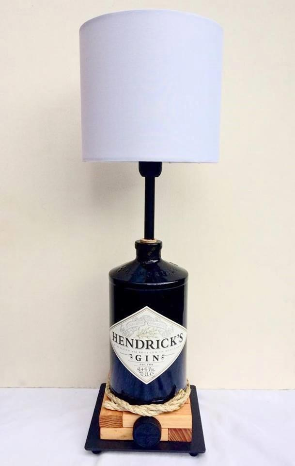 Hendrick's Gin Table Lamp with white shade