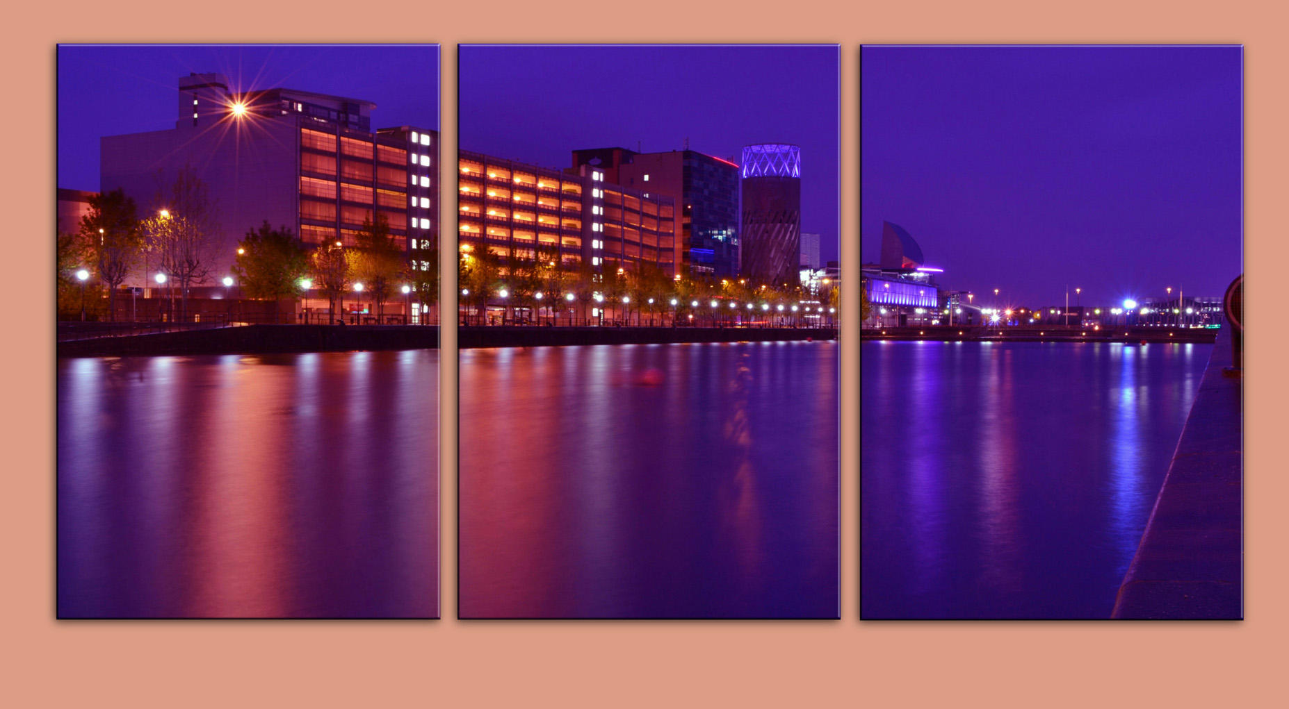Salford Quays by Night in colour