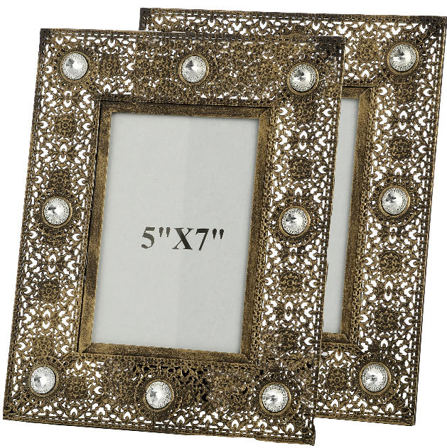 "Pair of antique gold effect photo frames (5"" x 7"")"
