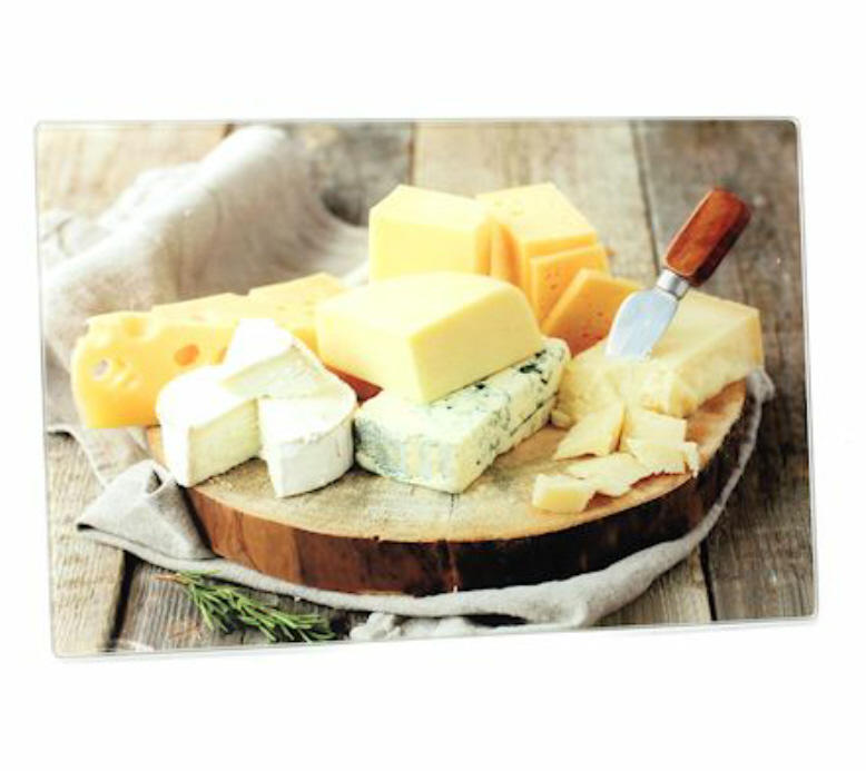 Cheeses Small Glass Cutting Board