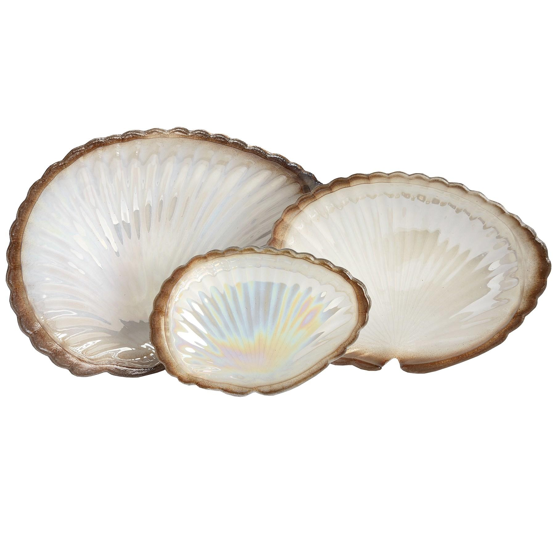 Set of 3 gold and cream clam shell display dishes