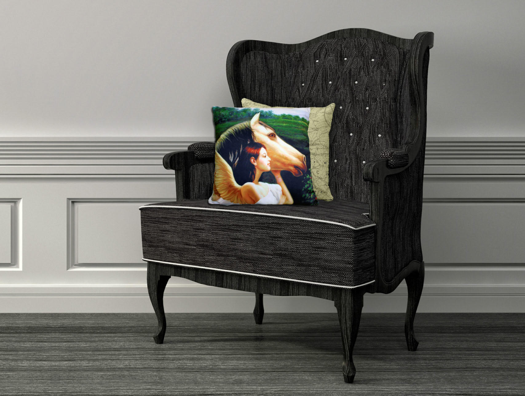 'Angel with Horse' single cushion cover