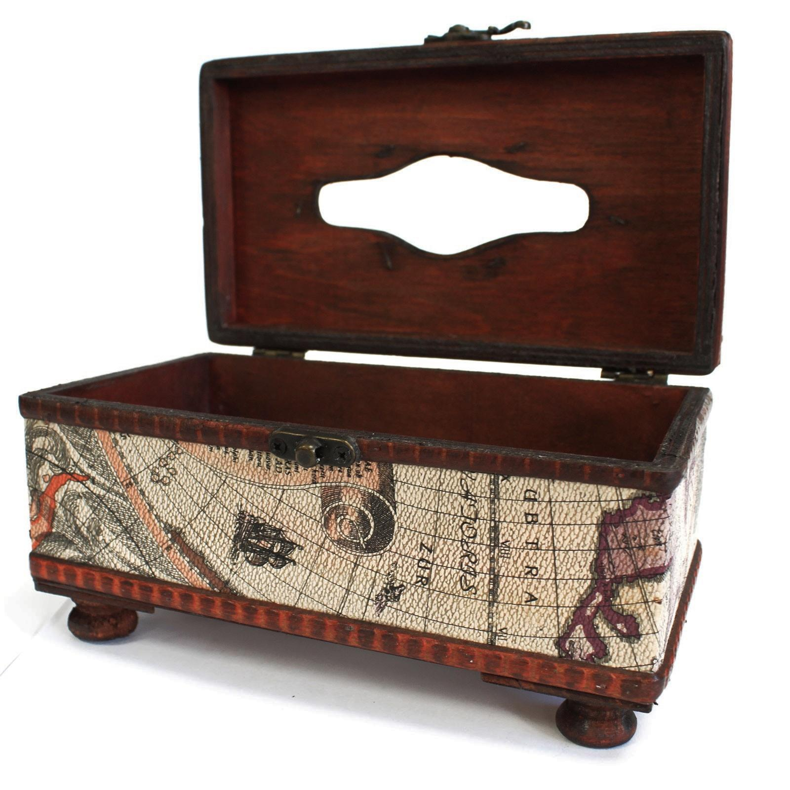 Old Map Tissue Box On Feet - Antique map box