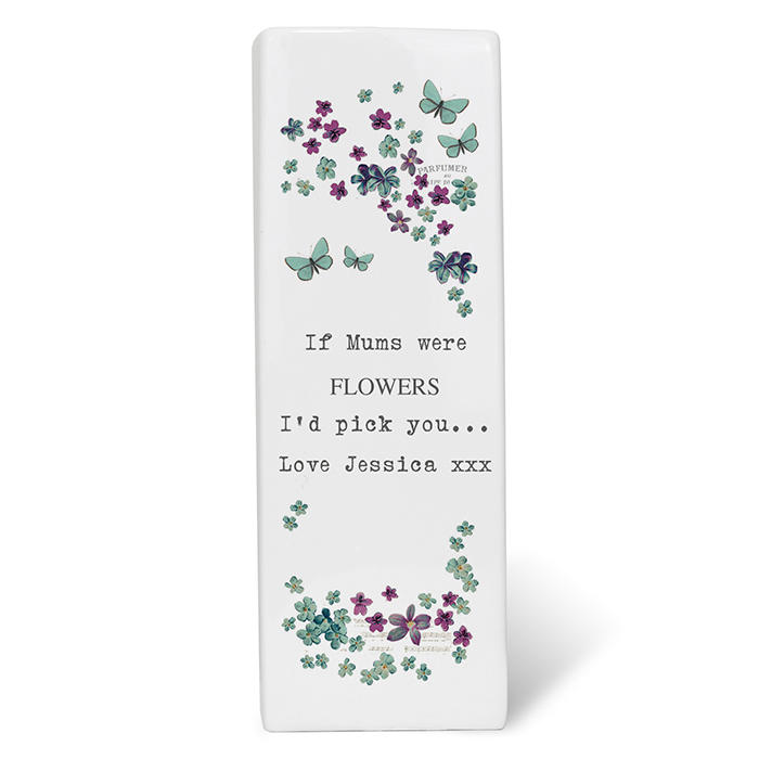 Personalised 'Forget Me Not' square ceramic vase