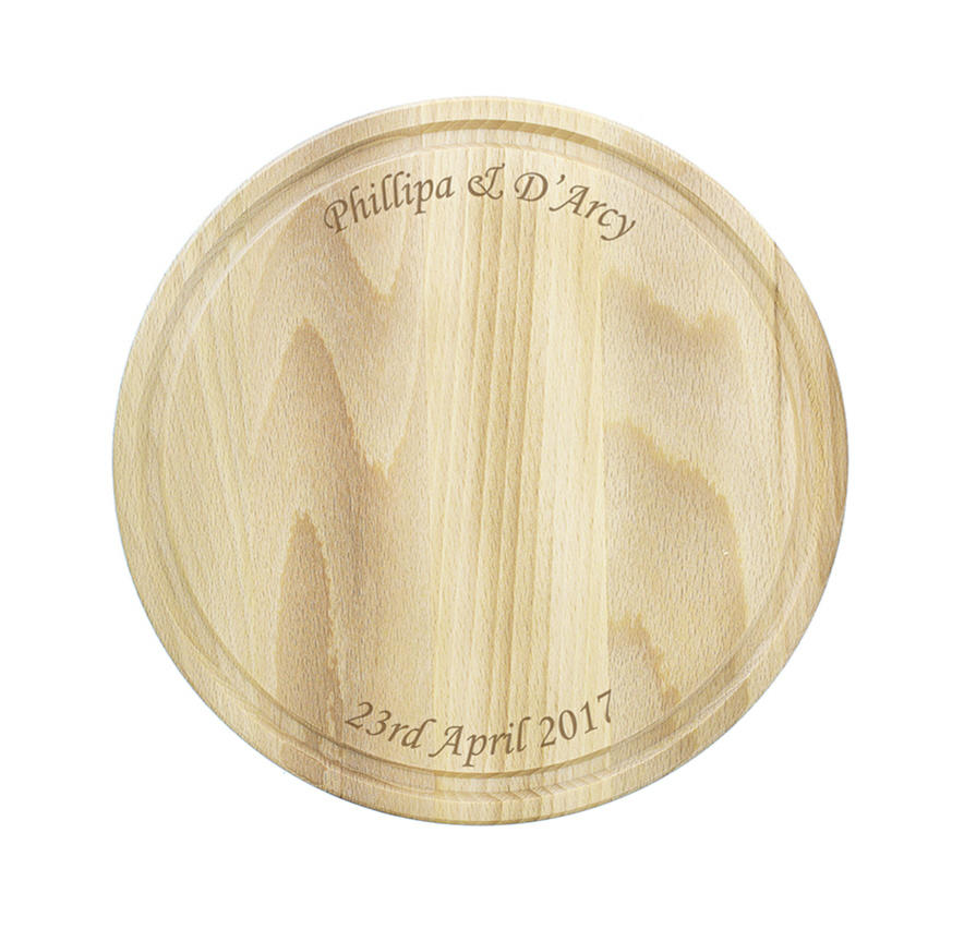 Small Round Wooden Chopping Board (personalised)