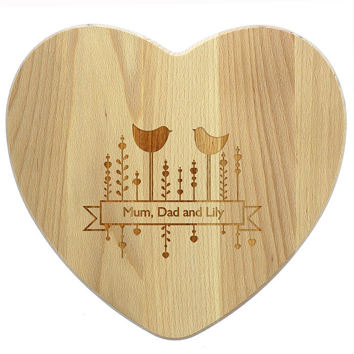 Heart Shaped Decorative Birds Wooden Chopping Board (personalised)