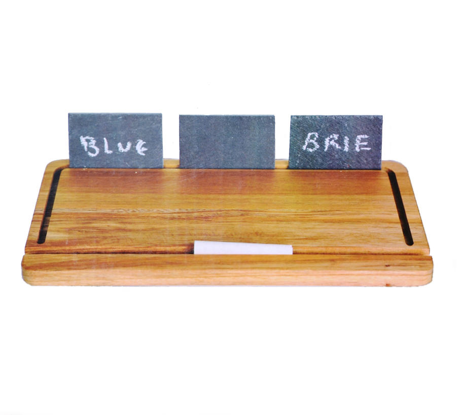 Wooden Cheese Board With Slate Plaques