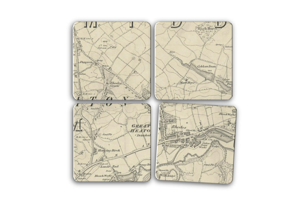 Rhodes 1845 Map Set of Four Coasters