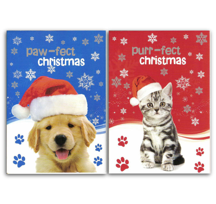 Puppy & Kitten Christmas Cards in Pack of Twelve
