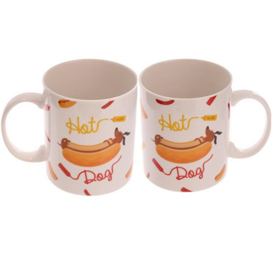 Pair of Jack Evans 'hot dog sausage dog' bone china mugs