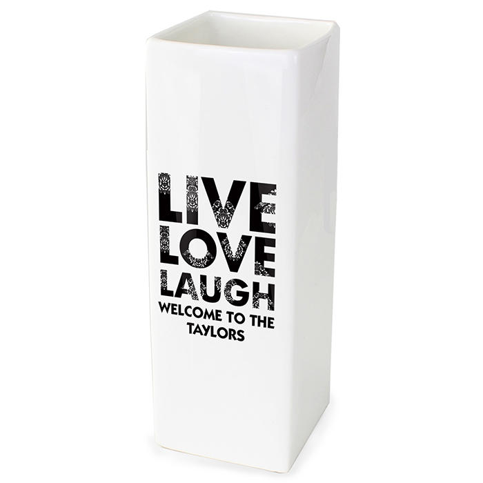 Personalised 'Live, Love, Laugh' square ceramic vase