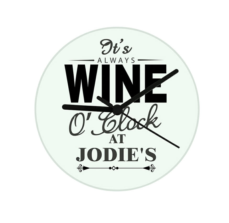 Personalised Glass 'Wine O'Clock' Clock