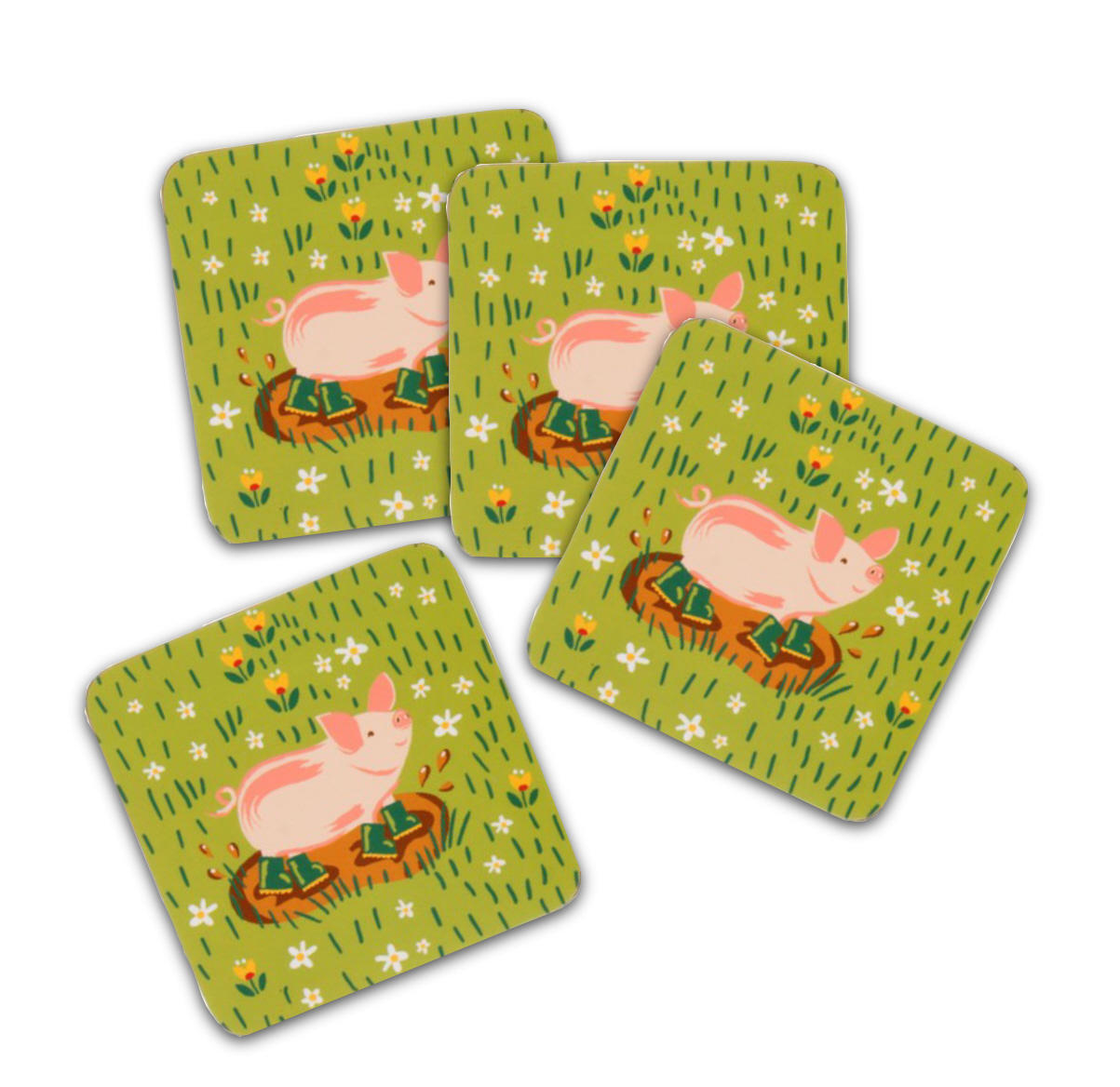 Jennie's Farm Set of Four Coasters