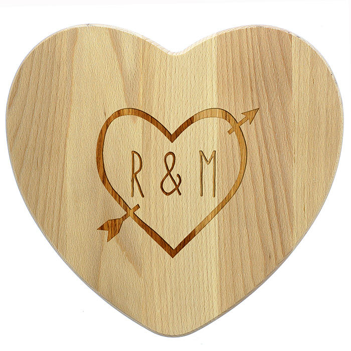 Heart Shaped 'Wood Carving' Wooden Chopping Board (personalised)