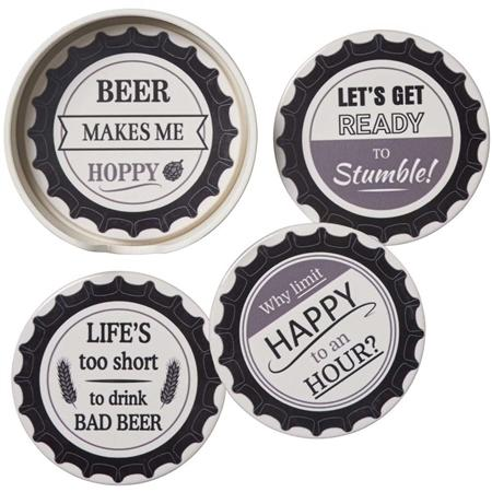 Bottle Cap Set of Four Coasters in Holder