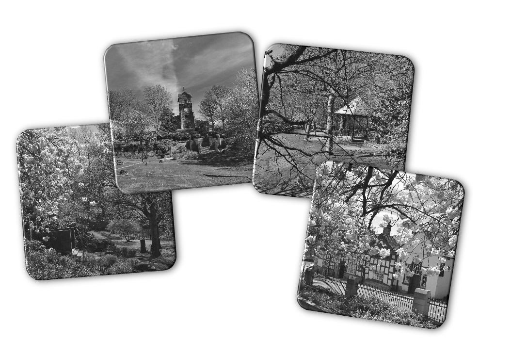 Jubilee Park Views Set of Four Coasters in Black & White