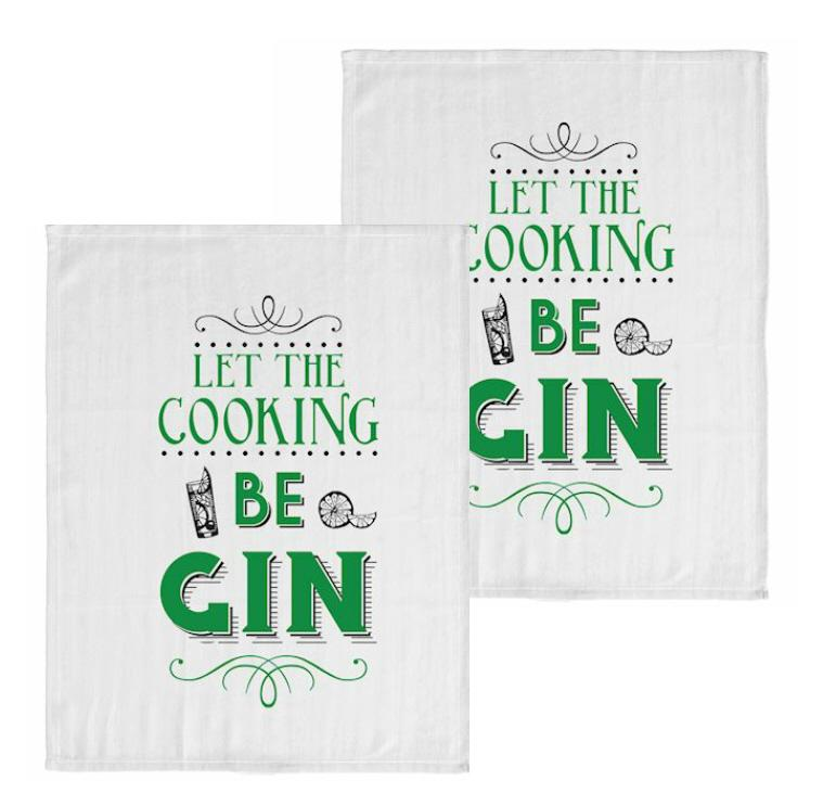 Cooking Be Gin Pack of 2 Tea Towels