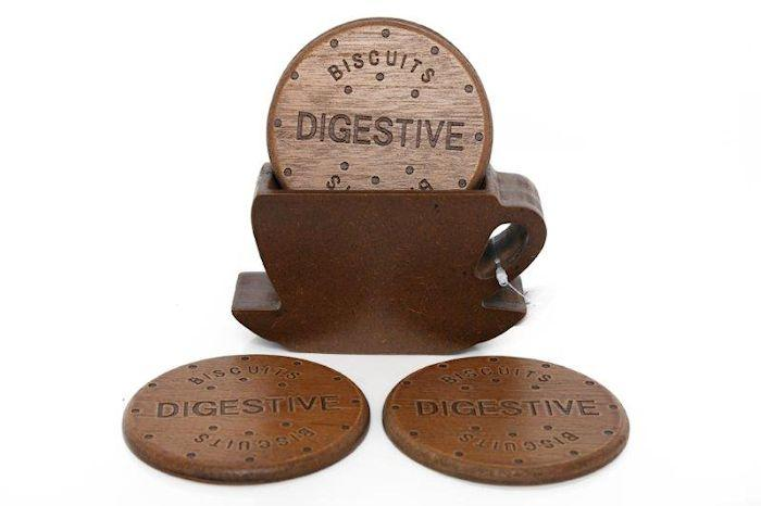 Set of Four Biscuit Coasters in Holder