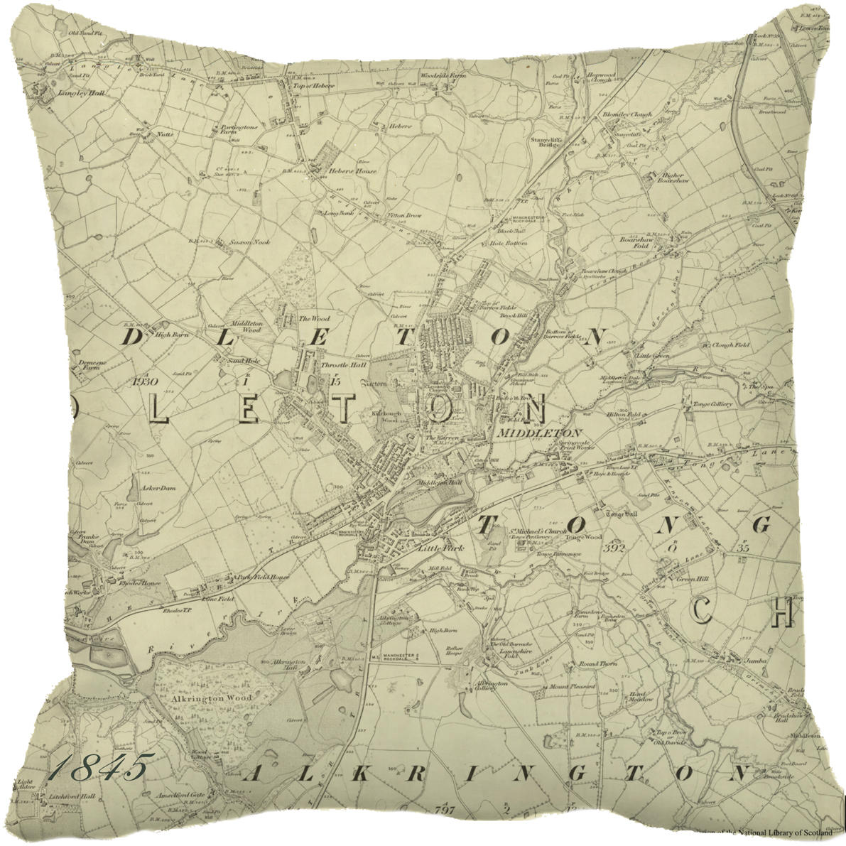 1845 Middleton map cushion cover