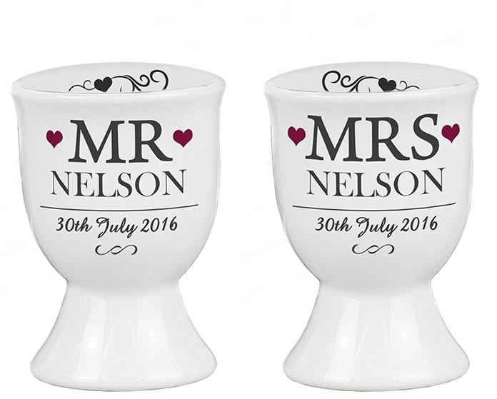 Personalised 'Mr & Mrs' pair of egg cups