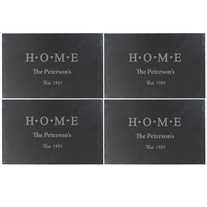 Personalised Home Set of 4 Slate Placemats