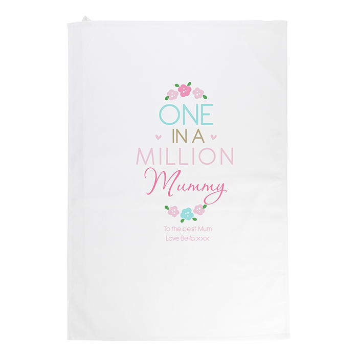 One in a Million White Tea Towel (personalised)