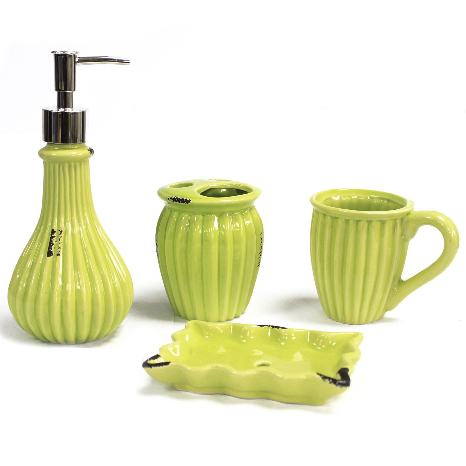 Vintage Lime ceramic bathroom set