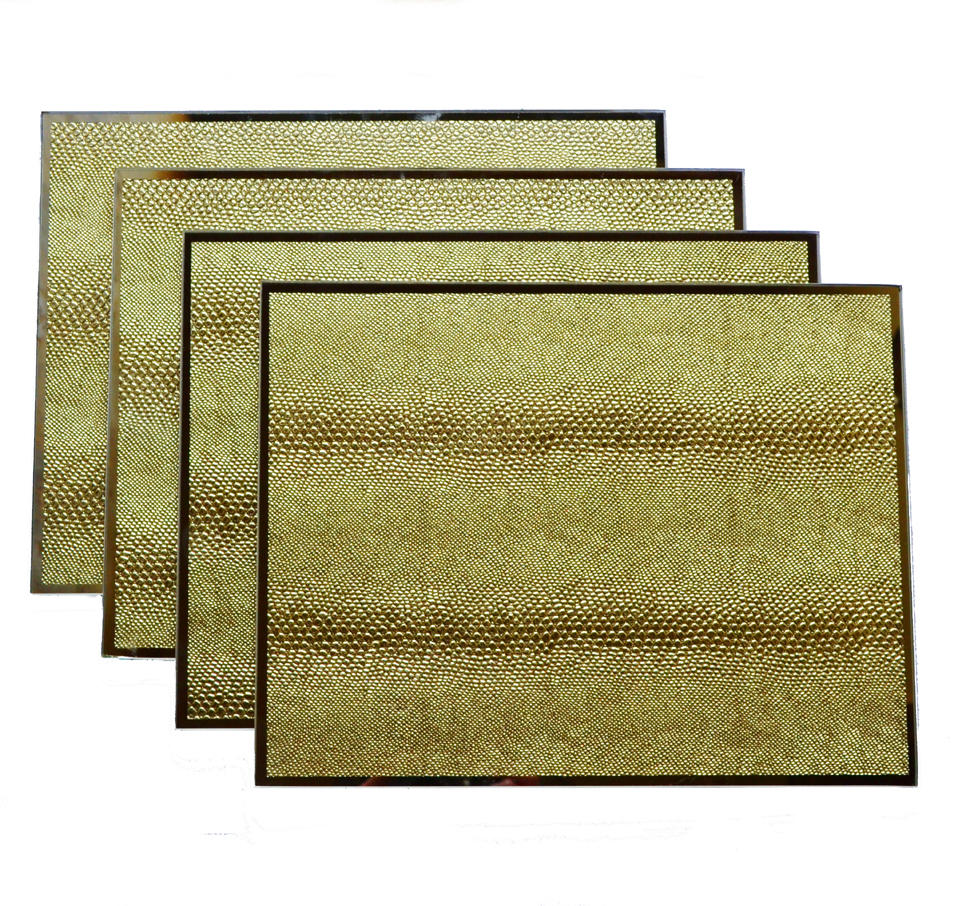 Gold Snakeskin Mirrored GlassSet of Four Placemats