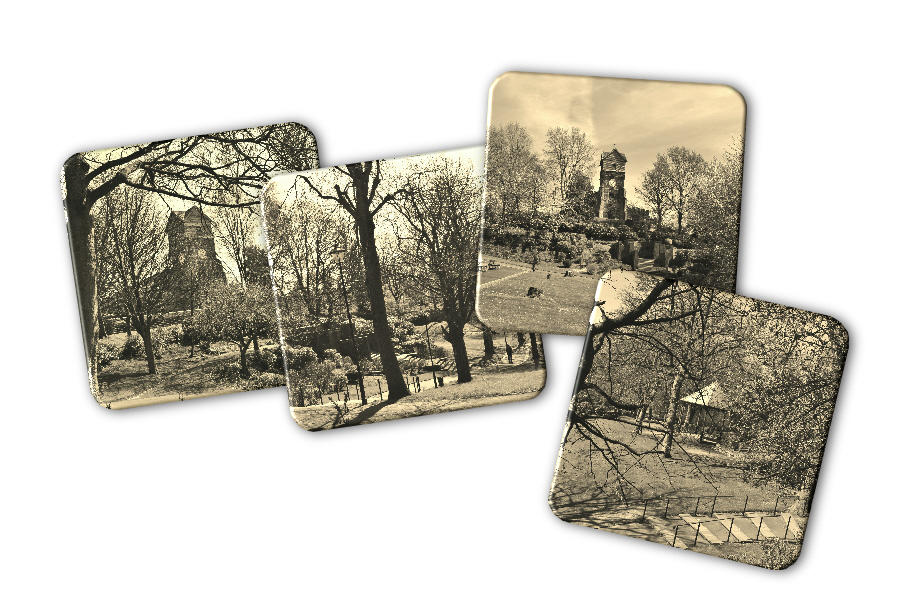 Jubilee Park Views Set of Four Coasters in Sepia