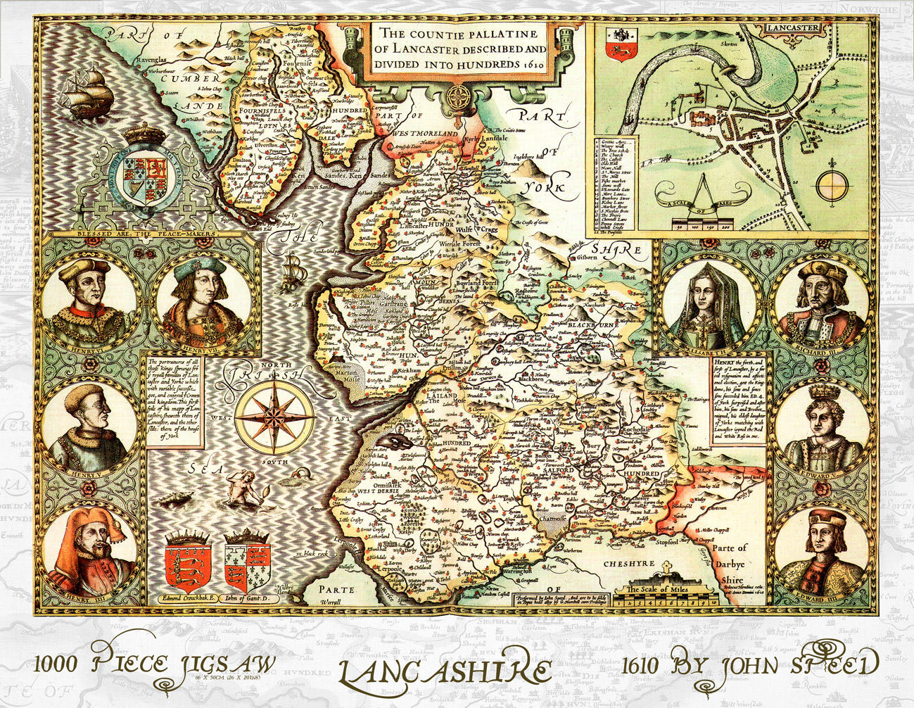 Lancashire map of 1610 by John Speed 1000 piece Jigsaw