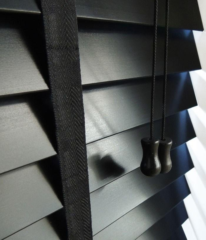 50 mm black wooden venetian blind with tapes