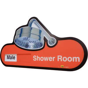 Interchangeable Shower Room Sign - Male