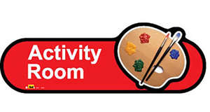 Activity Room Sign in Red