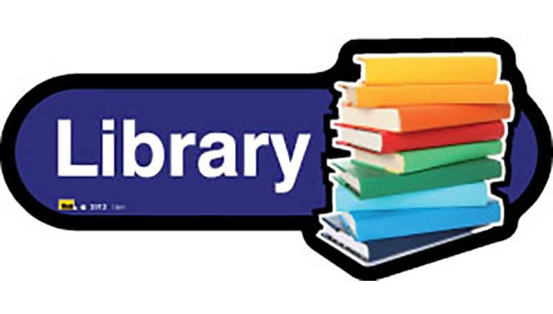 Library Sign inBlue