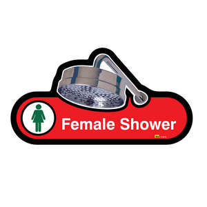 Female Shower Sign in Red