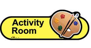 Activity Room Sign in Yellow