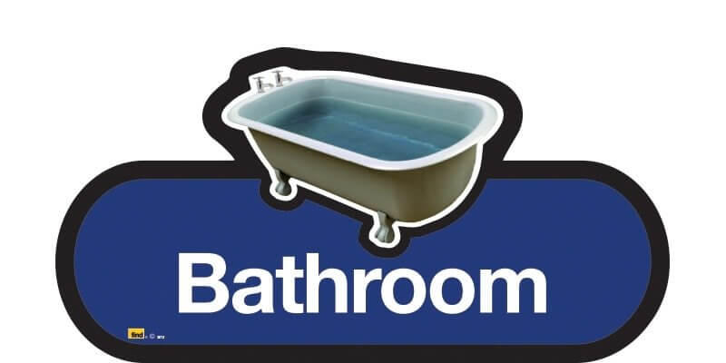Bathroom Sign in Blue