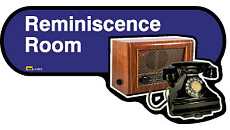 Reminiscence Room Sign inBlue