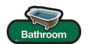 Bathroom Sign in Green