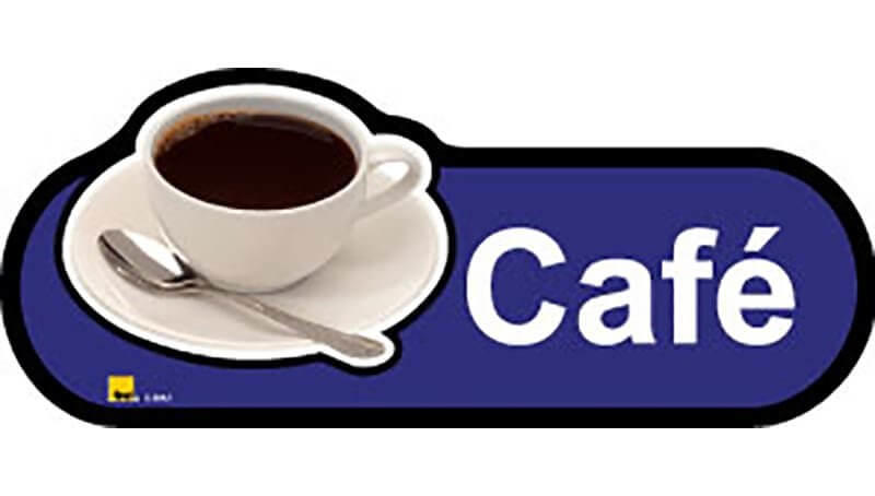 Cafe Sign in Blue