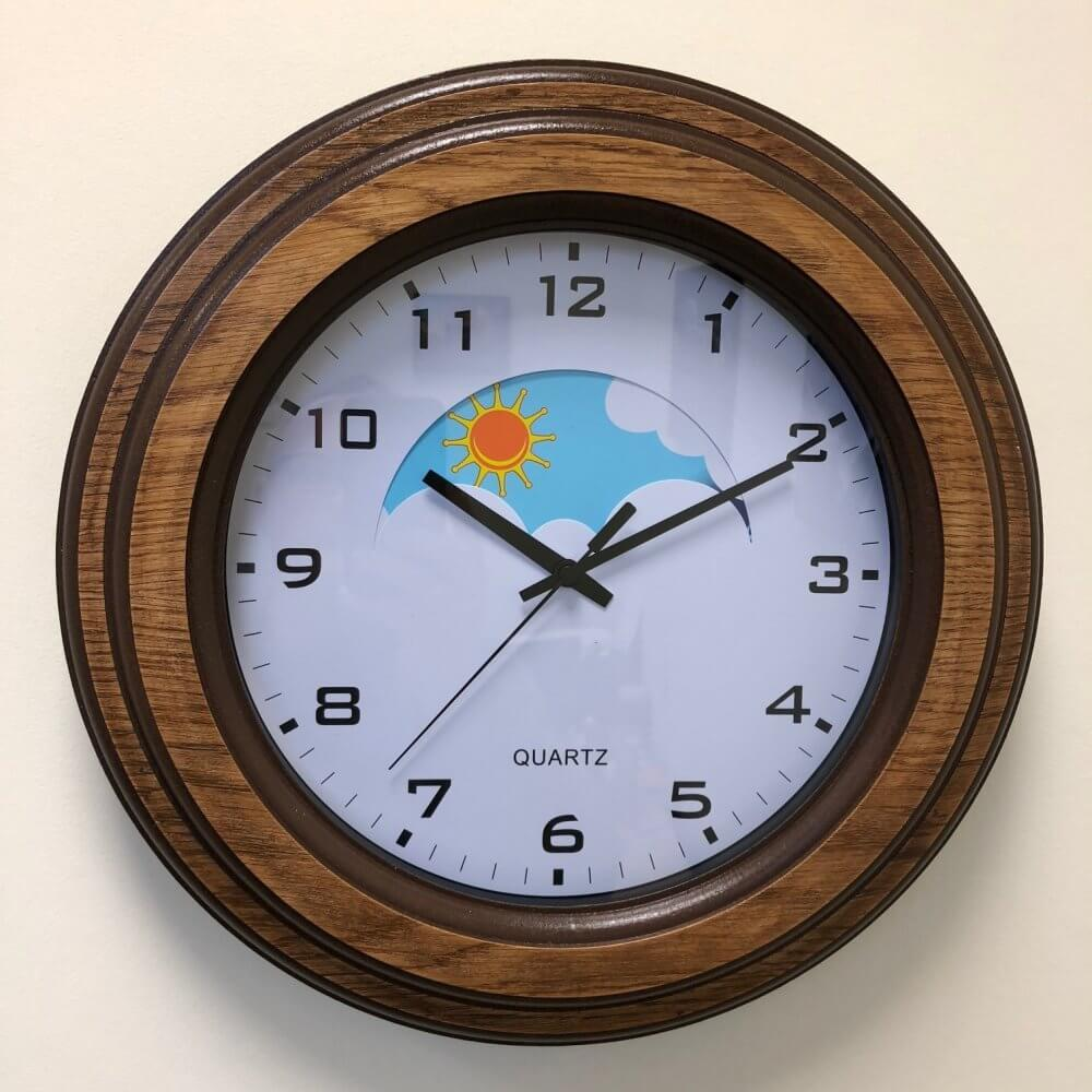 Day / Night Clock - Wooden Surround