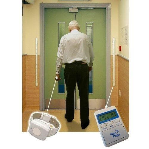 DoorWatcher with elderly man walking through door