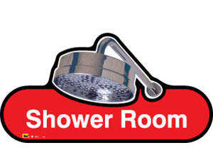 Shower Room Sign inRed