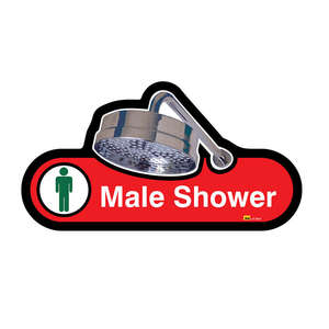 Male Shower Sign in Red