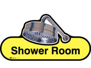 Shower Room Sign inYellow