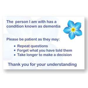 Patience Card For A Companion of a Person With Dementia - Pack of 20