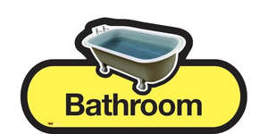 Bathroom Sign in Yellow