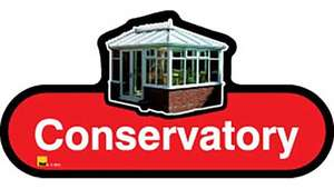 Conservatory Sign inRed