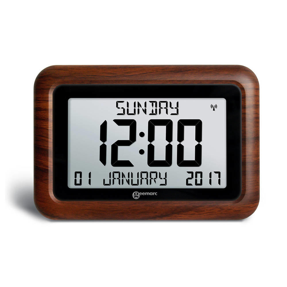 geemarc viso10 radio controlled calendar clock wood effect. Black Bedroom Furniture Sets. Home Design Ideas